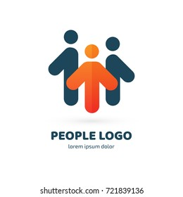Logo design abstract people vector template. Illustration design of logotype business team symbol. Vector happy man web icon.