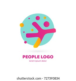 Logo design abstract people vector template. Illustration design of logotype business sport symbol. Vector active man web icon.