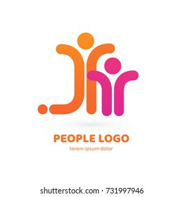 Logo design abstract people vector template. Illustration design of logotype business family symbol. Vector happy man web icon.