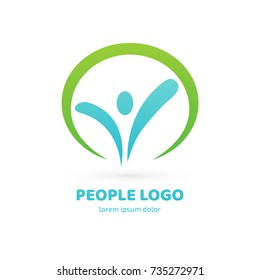Logo design abstract people vector template. Illustration design of logotype activity person symbol. Vector happy man web icon.