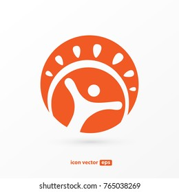 Logo design abstract people vector template. Illustration design of logotype business happy person symbol. Vector sun and man web icon.