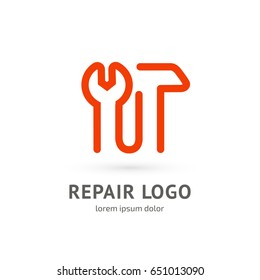 Logo design abstract repair vector template. Illustration design of logotype business spanner symbol. Vector web work tool icon.