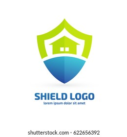 Logo design abstract shield, house vector template. Illustration design of logotype business protection, home insurance flat symbol.