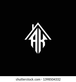 Logo design of AK KA in vector for construction, home, real estate, building, property. Minimal awesome trendy professional logo design template on black background.