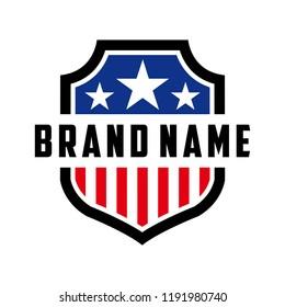 logo design american shield vector template
