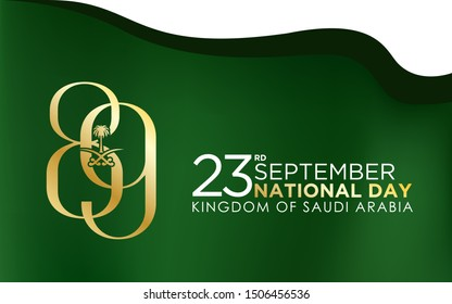 logo design Anniversary 89 years The national holiday of the Kingdom of Saudi Arabia, is celebrated on September 23rd. minimal flag background and graphic design