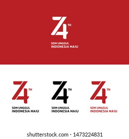 Logo Design of Anniversary celebration of 74th Indonesia Independence day (Slogan translation: Superior human resources, Indonesia is progressing)