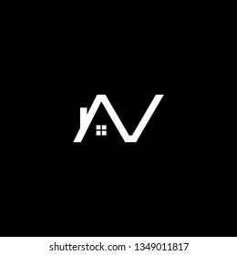 Logo design of AV VA NV VN in vector for construction, home, real estate, building, property. Minimal awesome trendy professional logo design template on black background.