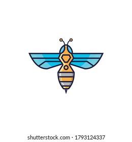 logo design bee robot vector
