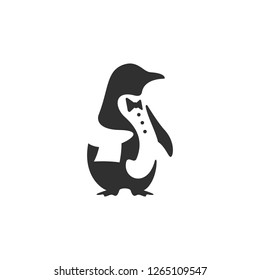Logo design of Black penguin dressed as a butler or waiter