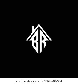 Logo design of BR RB in vector for construction, home, real estate, building, property. Minimal awesome trendy professional logo design template on black background.