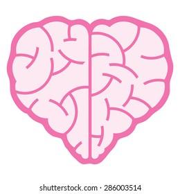 A logo design of a brain that inspire a heart shape.