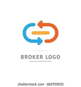 Logo design broker vector template. Illustration design of logotype bidding business symbol. Arrow pictogram.