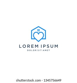 logo design a building or house with a heart