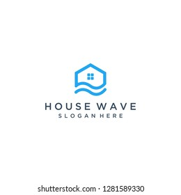 logo design of a building or house with waves
