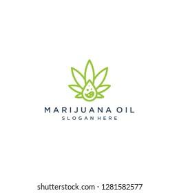 logo design cannabis extract or cannabis leaf with oil liquid drops