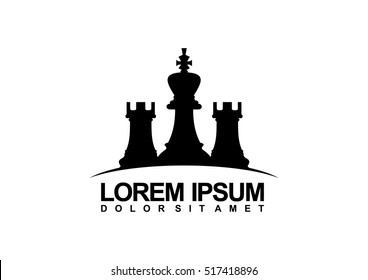 Logo design for a chess companies or a chess player. Logo vector illustration. Flat design.