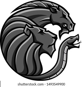 Logo Design of Chimera Beast with three heads Lion, Goat and Snake