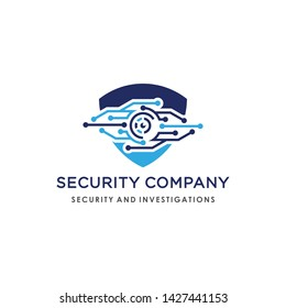 Logo design combination of shields and eyes, describes the security of the system with a touch of technology. Suitable for companies engaged in cyber security, computer security, anti-virus, etc.