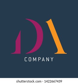 Logo design for company. Company logo DA. Monogram logo DA letters.
