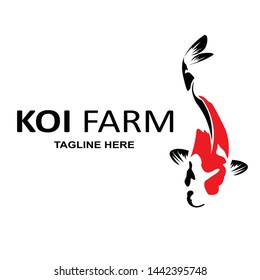 logo design concept of koi fish farming