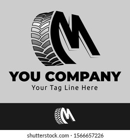 Logo Design Concept with the letter M and combined with car tires