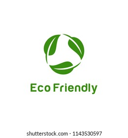 "Logo design concept related to ecology and recycle with text ""Eco Friendly"""