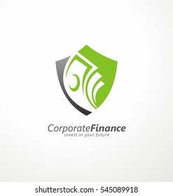 Logo design concept for safe investments with shield shape and money bills in negative space. Vector illustration.