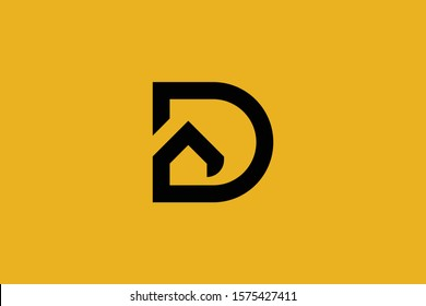 Logo design of D in vector for construction, home, real estate, building, property. Minimal awesome trendy professional letter icon. logo design template