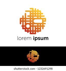 Logo design. Digital sun abstract concept icon