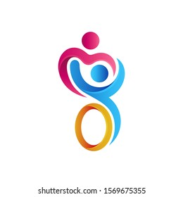 Logo design of disabled people care and support, Disabilities charity logo,   People with disabilities protection logo, Icon help disabled people, Human sitting on the wheelchair vector illustration