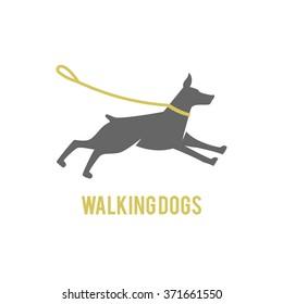 logo design for dog walking, training or dog related business. Isolated on white background