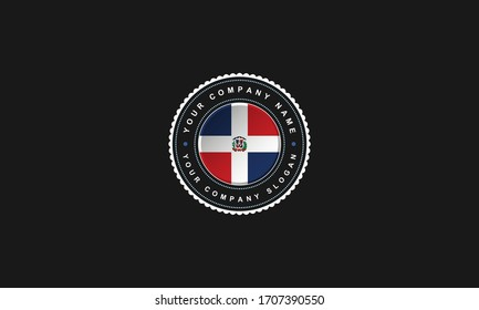 logo design with Dominican Republic concept in circle. Red,Blue and White Vintage and premium