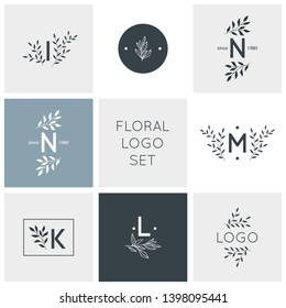 Logo design with doodle flowers.Hand drawn logo collection.