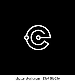 Logo design of E EC CE in vector for technology, electronics, digital, connection. Minimal awesome trendy professional logo design template on black background.