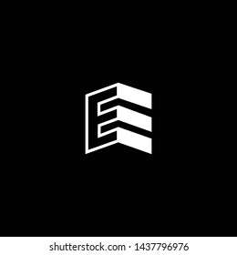 Logo design of E EE in vector for construction, home, real estate, building, property. Minimal awesome trendy professional logo design template on black background.