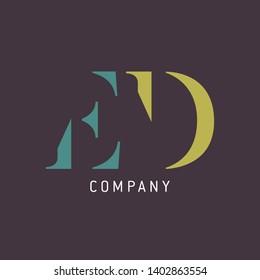 Logo design ED. Letters logo. Monogram logo. Company logo. Letters ED.