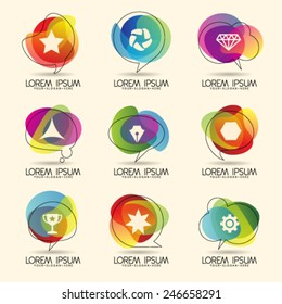 Logo design element and Abstract web Icon and colorful vector symbol. Unusual icon and sticker set. Graphic design easy editable for Your design.  Modern logotype icon.