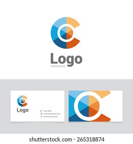 Logo design element with two business cards. Logo letter. Sphere symbol
