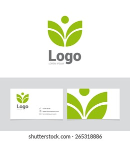 Logo design element with two business cards. Logo leaf, spa symbol.