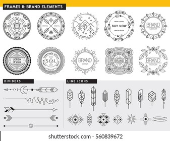 LOGO DESIGN ELEMENTS TEMPLATES FOR BRANDING PROJECTS. Arrows, labels, ribbons, calligraphy swirls, ornaments, symbols, icons, dividers and other. Logo design. Geometric lines style. Editable vector.