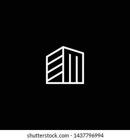 Logo design of EM ME in vector for construction, home, real estate, building, property. Minimal awesome trendy professional logo design template on black background.