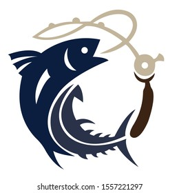 Logo for design a fish with a fishing rod on a hook. Contour, silhouette of a fish with a fishing rod drawn in blue on a white background with lines of different widths. Vector illustration