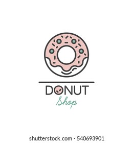 Logo Design for Fresh Bakery Products, Bread, Cake, Cupcake, Donut or Grocery Shop with Pink Cream Donut