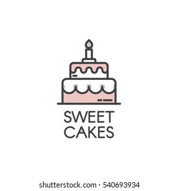 Logo Design for Fresh Bakery Products, Bread, Cake, Cupcake, Donut or Grocery Shop with Pink Cartoon Style Custom Birthday or Wedding Cake