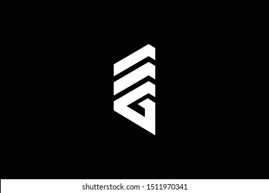 Logo design of G GE EG in vector for construction, home, real estate, building, property. Minimal awesome trendy professional logo design template on black background.