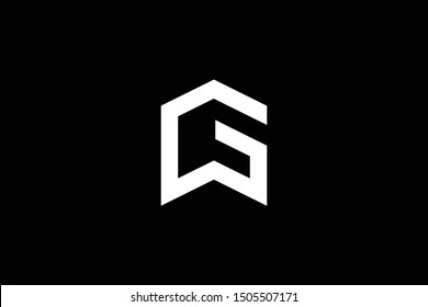 Logo design of G GW WG in vector for construction, home, real estate, building, property. Minimal awesome trendy professional logo design template on black background.