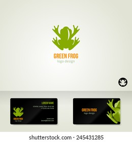 Logo design with green frog. Vector illustration. Business cards template. Ecological theme. Save the Earth symbol.