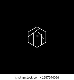 Logo design of H TH HT in vector for construction, home, real estate, building, property. Minimal awesome trendy professional logo design template on black background.