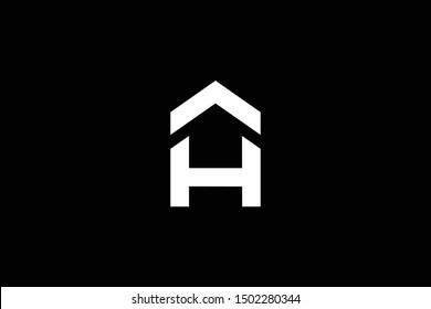 Logo design of H in vector for construction, home, real estate, building, property. Minimal awesome trendy professional logo design template on black background.